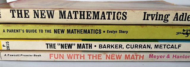 Spines of New Math paperbacks from the 1960s (courtesy wikimedia.org)
